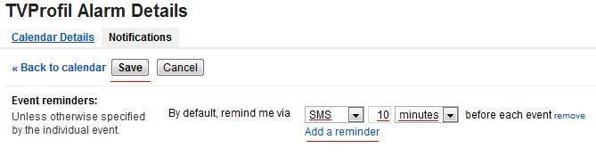 google kalendar SMS