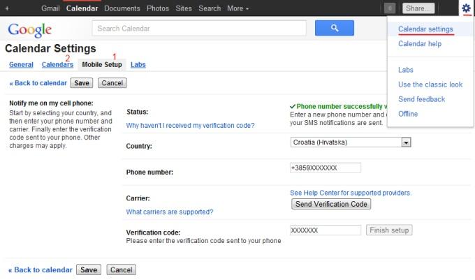 google kalendar postavke